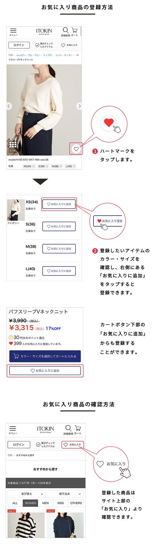 お気に入り商品の登録方法・確認方法