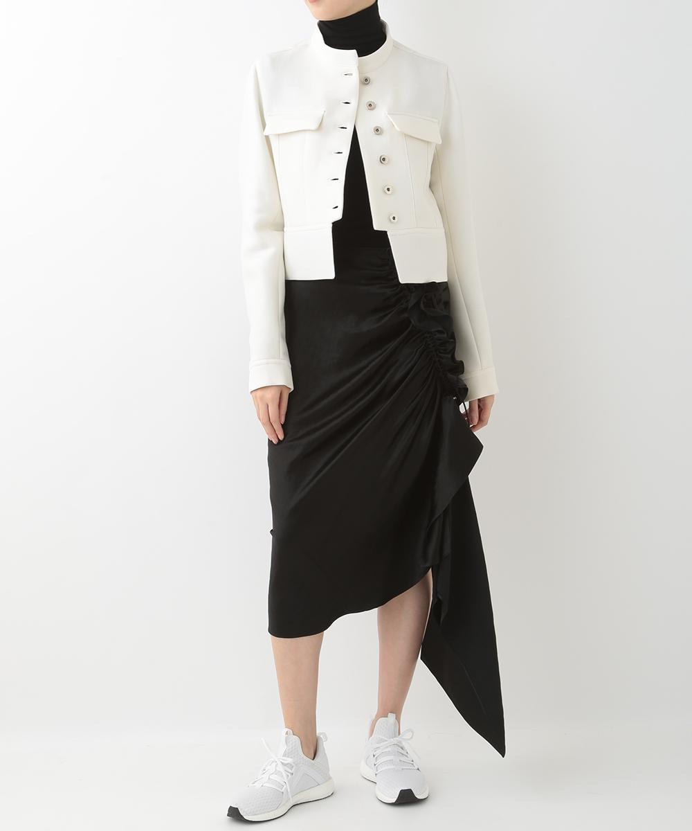 re:edition project 165 WHITE WOOL JACKET & SATIN FRILLED SKIRT