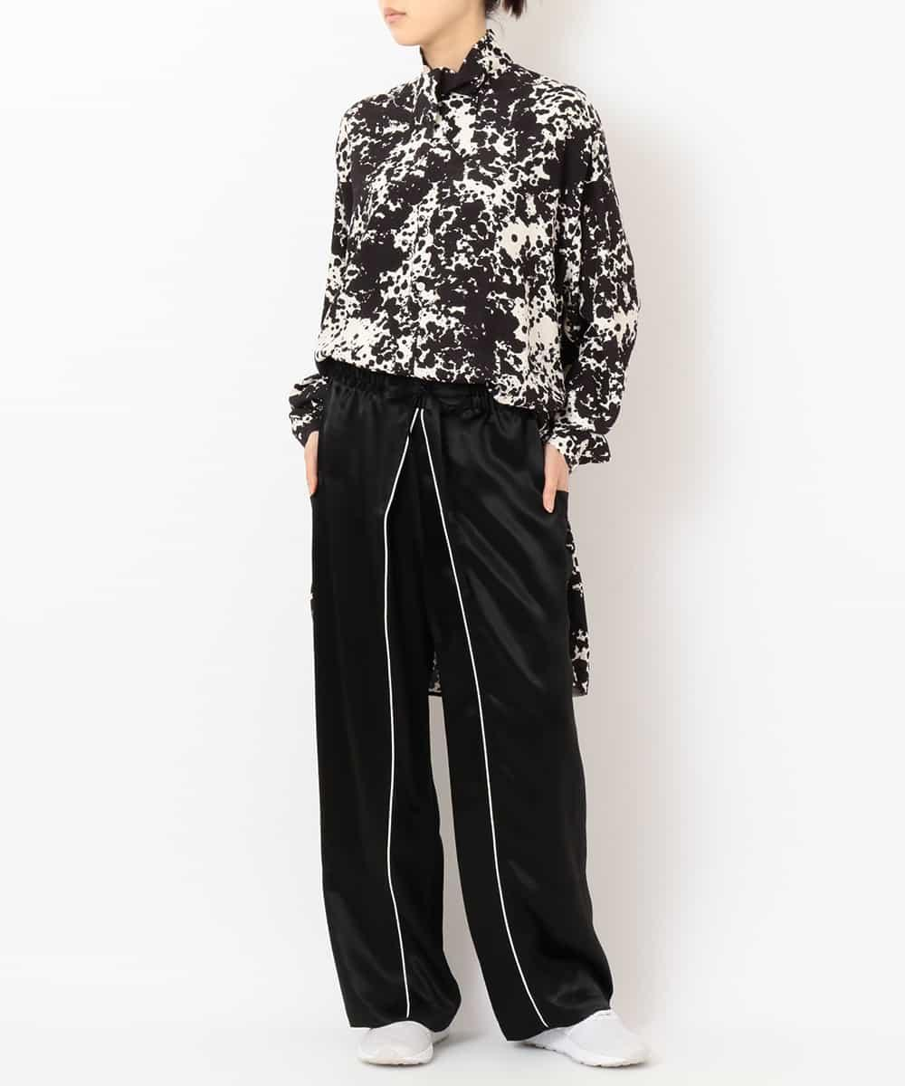 "re:edition project 165 ""BLACK AND WHITE PRINTED ""TUXEDO"" TIE BLOUSE  & """"PAJAMA""""SATIN PANTS W/PIPING DETAIL."""