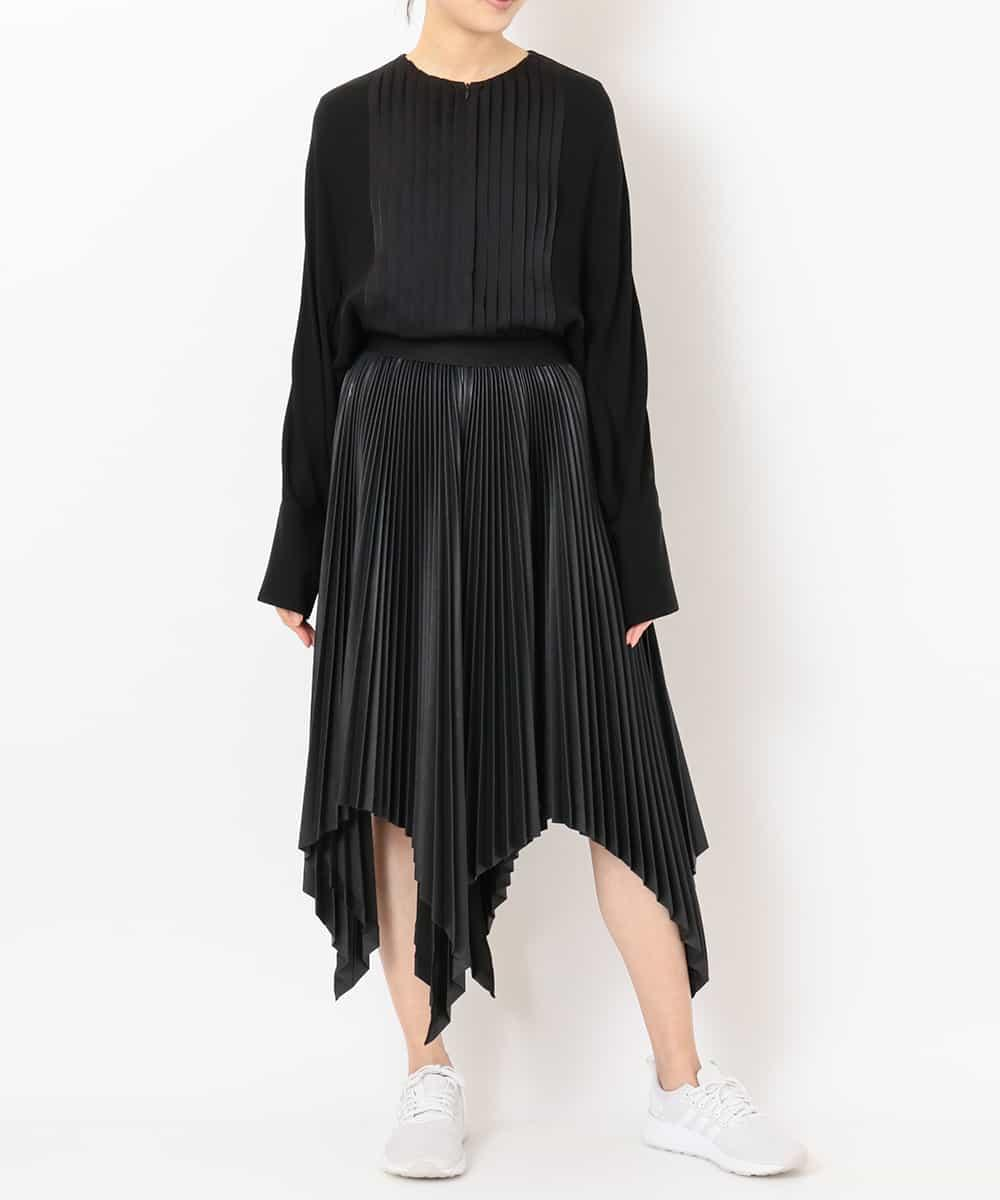 "re:edition project 165 ""TUXEDO"" PLEATED FRONT COLLARLESS BLOUSE & PLEATED ECO-LEATHER ""SUPERFLAT"" SQUARE HEM SKIRT"