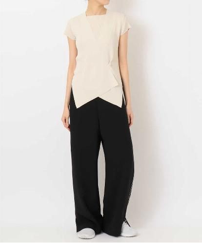 """SHIFTED SEMI-BIAS"" DRY MATTE-RIB TOP,GILET&ALL-OPEN DOUBLE ZIPPED SIDE PANTS"