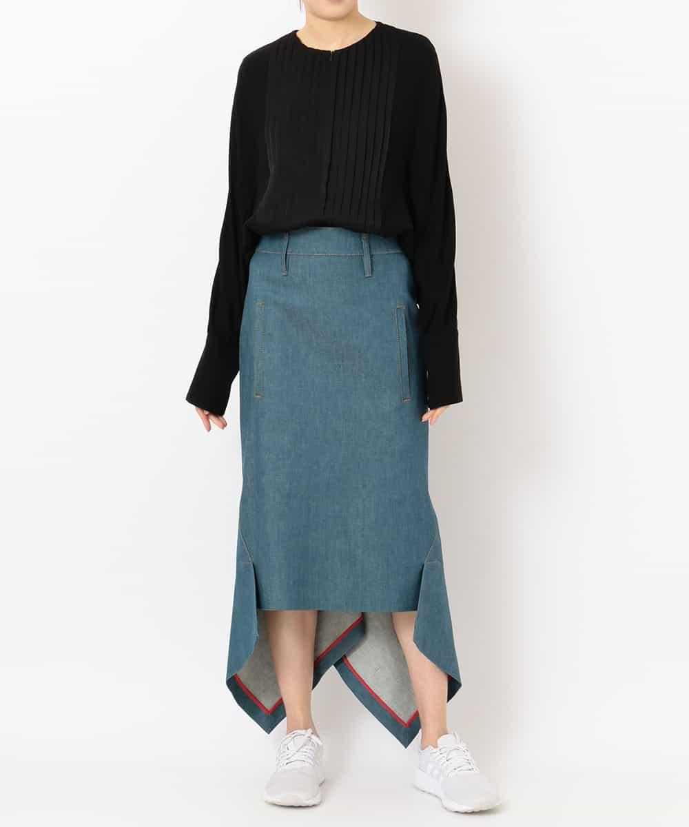 "re:edition project 165 ""TUXEDO"" PLEATED FRONT COLLARLESS BLOUSE& ""OKAYAMA DENIM""  ""HIP-MOLDING"" SKIRT"