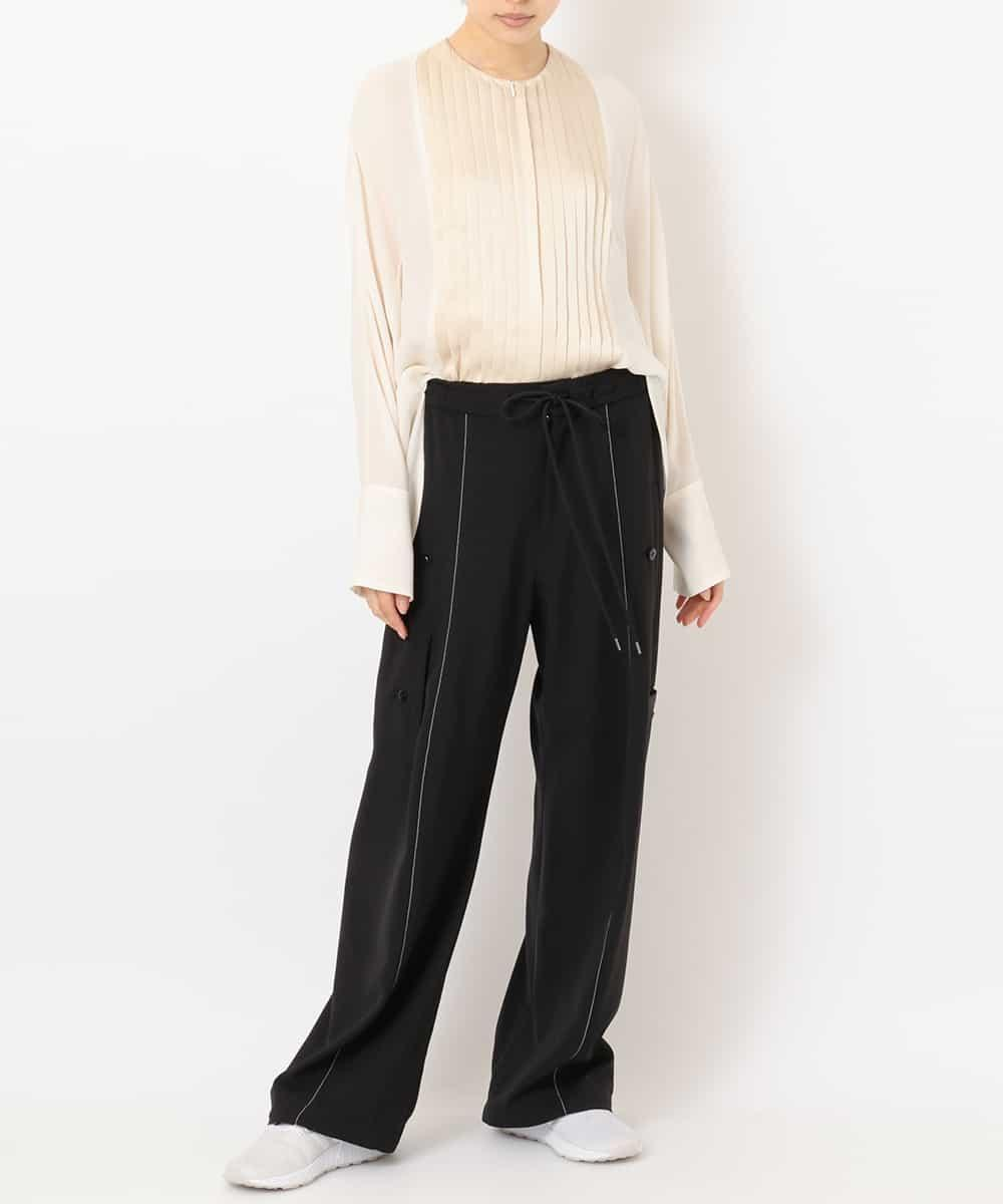 "re:edition project 165 TUXEDO PLEATED FRONT COLLARLESS BLOUSE&FRONT-AND-BACK-SEAM ""PAJAMA SWEAT"" PANTS"