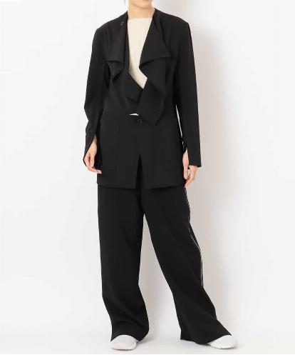 "SOFT- DRAPED ""FLUID"" TUXEDO JACKET,  ""DRY MATTE-RIB"" TOP & ""ALL-OPEN DOUBLE ZIPPED SIDE"" PANTS"