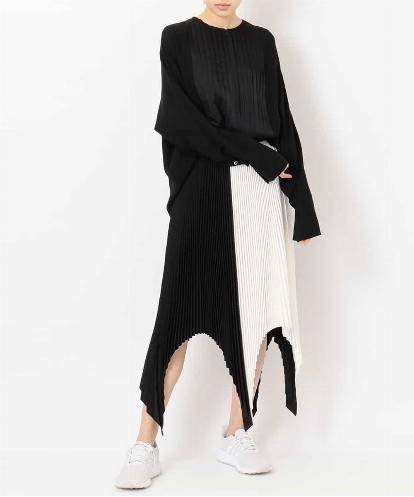 """TUXEDO"" PLEATED FRONT COLLARLESS BLOUSE & BLACK AND WHITE PLEATED ASYMMETRIC HEM SKIRT"