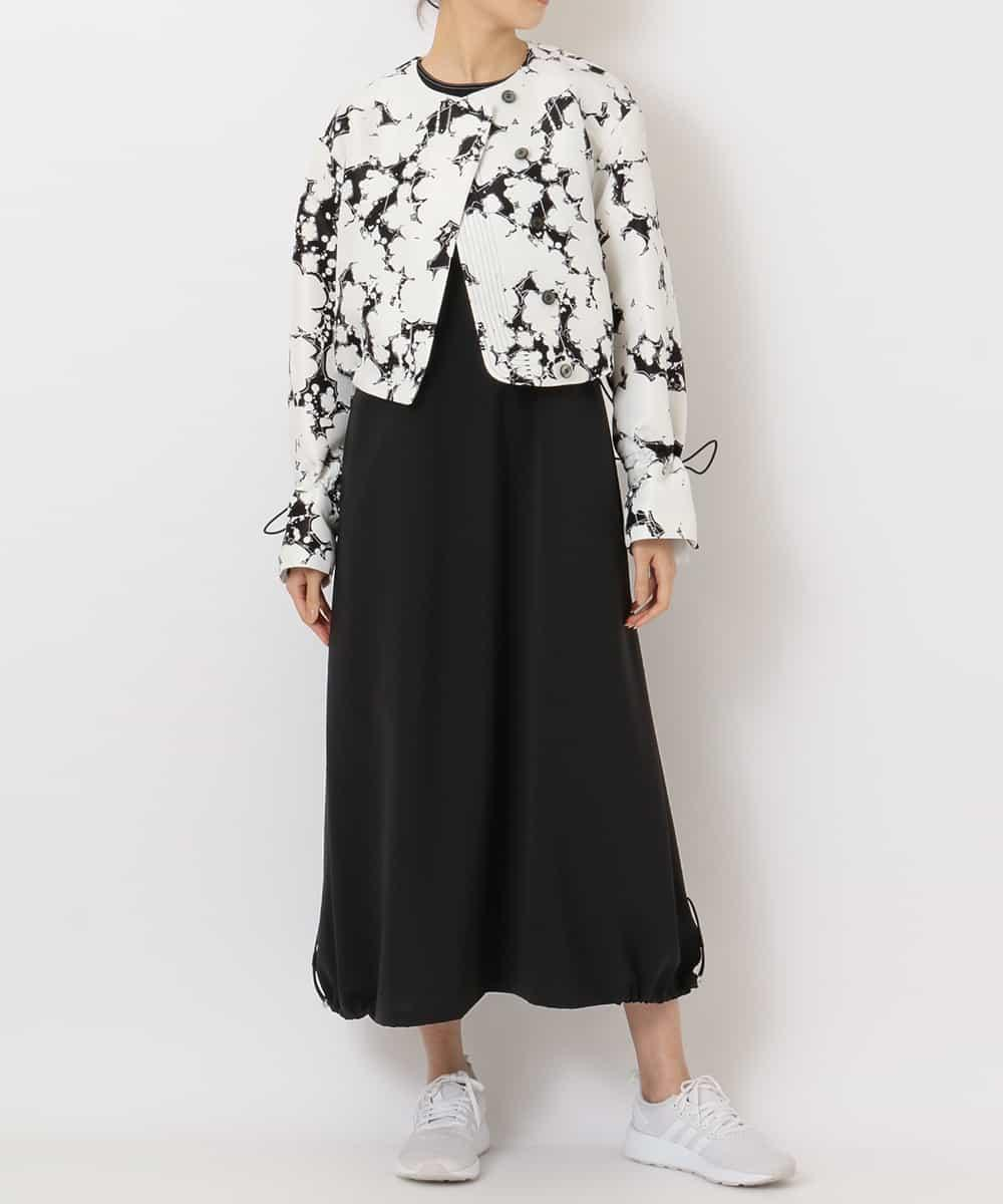 re:edition project 165 BLACK AND WHITE PRINTED SHORT BLOUSON & BLACK SKIRT