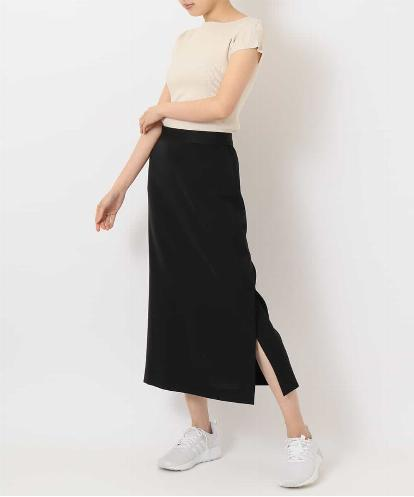 """DRY MATTE-RIB"" TOP & LONG SKIRT WITH  SIDE SLIT"