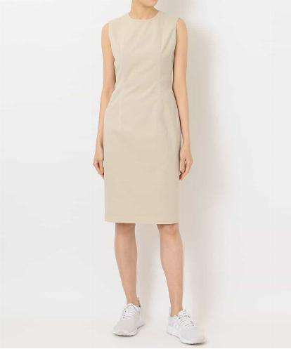 """JEWEL-NECK"" NO SLEEVES FITTED  DRESS WITH WHITE STITCHES"