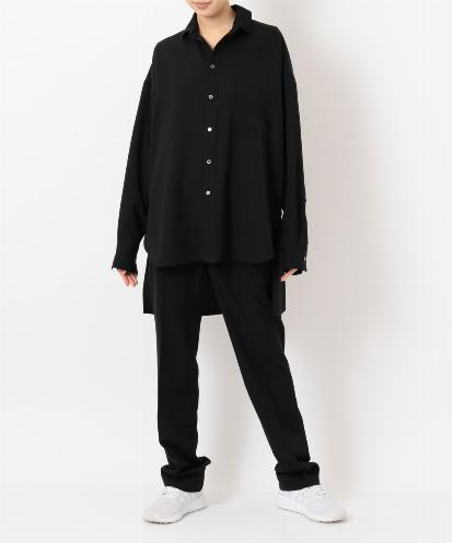 "OVERSIZED BLACK MENS SHIRT & FRONT-AND-BACK-SEAM ""PAJAMA SWEAT"" PANTS"