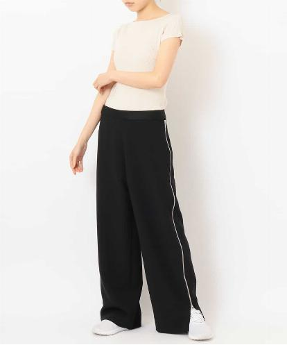 """DRY MATTE-RIB"" TOP &  ""ALL-OPEN DOUBLE ZIPPED SIDE"" PANTS"
