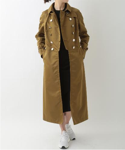 NYLON TAFFETA LONG TRENCH COAT WITHOUT DETACHABLE COLLAR & STRETCH JERSEY ENSEMBLE