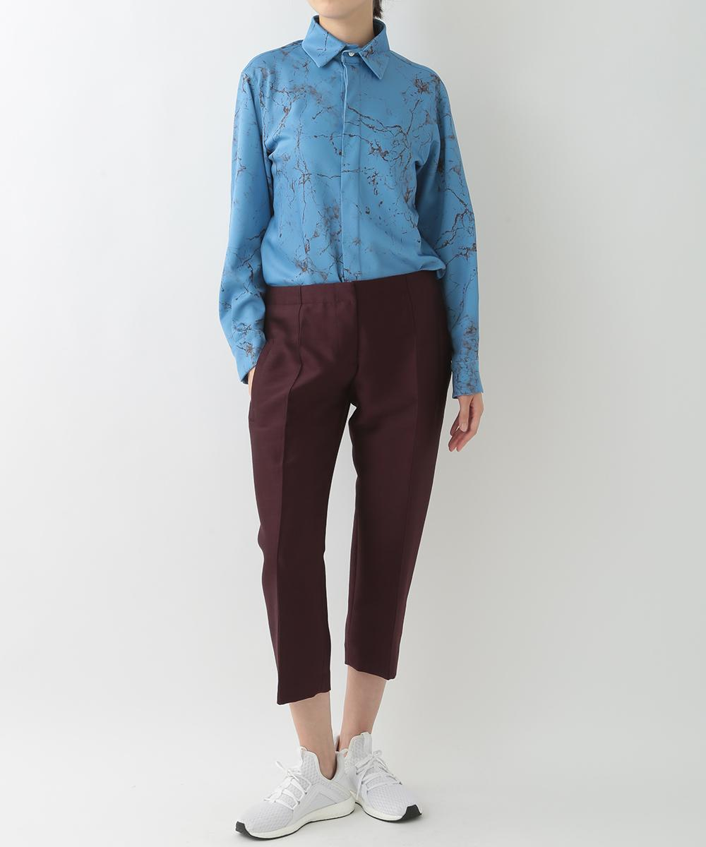 re:edition project 165 MARBLE PRINTED SATIN FRY FRONT SHIRTS & WOOL SILK TWILL CROPPED PANTS