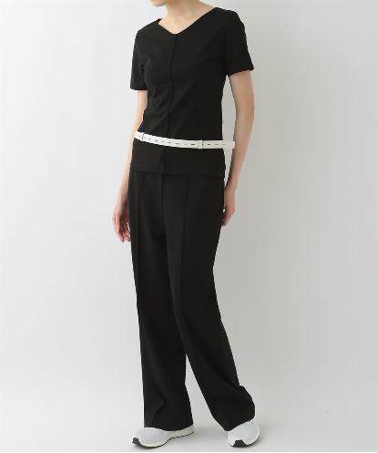 """WIDE V-NECK  ""BODY CONTOURING"" SHELL & STREIGHT LEG PANTS WITH BELT """