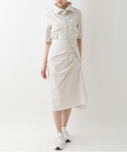 COTTON SHIRTING HALF SLEEVE HIGH COLLAR SHIRTS & DRAPED ASYMMETRICAL SKIRT IN CHALK COLOR