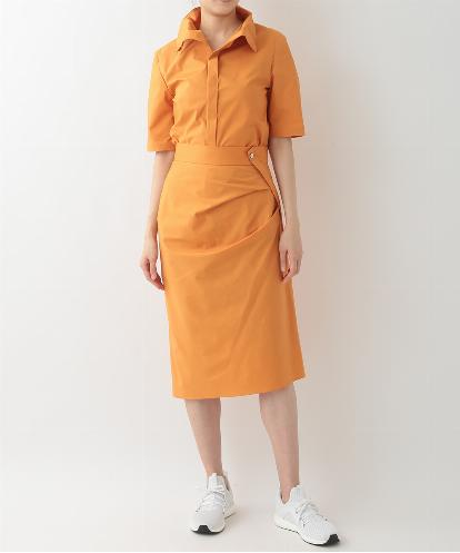 COTTON SHIRTING HALF SLEEVE HIGH COLLAR SHIRTS & DRAPED ASYMMETRICAL SKIRT IN ORANGE