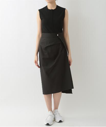 "CREW NECK ""BODY CONTOURING"" SHELL & DRAPED ASYMMETRICAL SKIRT IN BLACK"