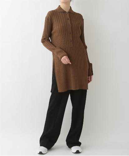 VISCOSE RIB LONG PULL OVER & STRTCH JERSEY STREIGHT LEG PANTS