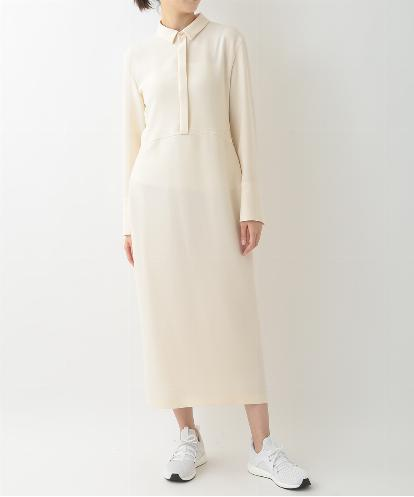 SMALL SHIRTS COLLAR  LONG DRESS IN IVORY