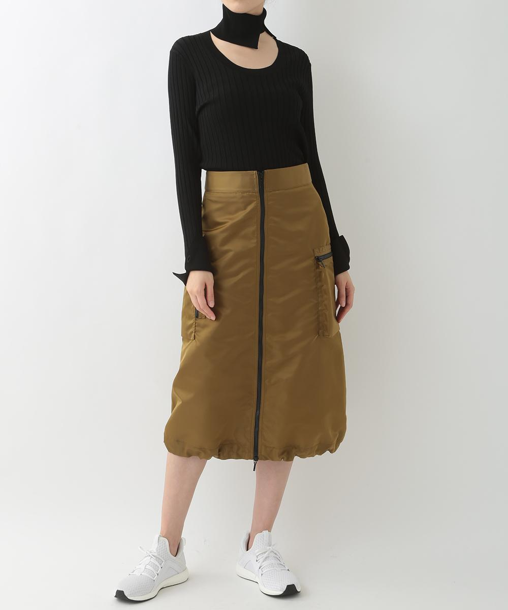 re:edition project 165 VISCOSE RIB  ROUND NECK TOP WITH DETACHABLE  COLLAR  & NYLON TAFFETA ZIP FRONT CARGO SKIRT