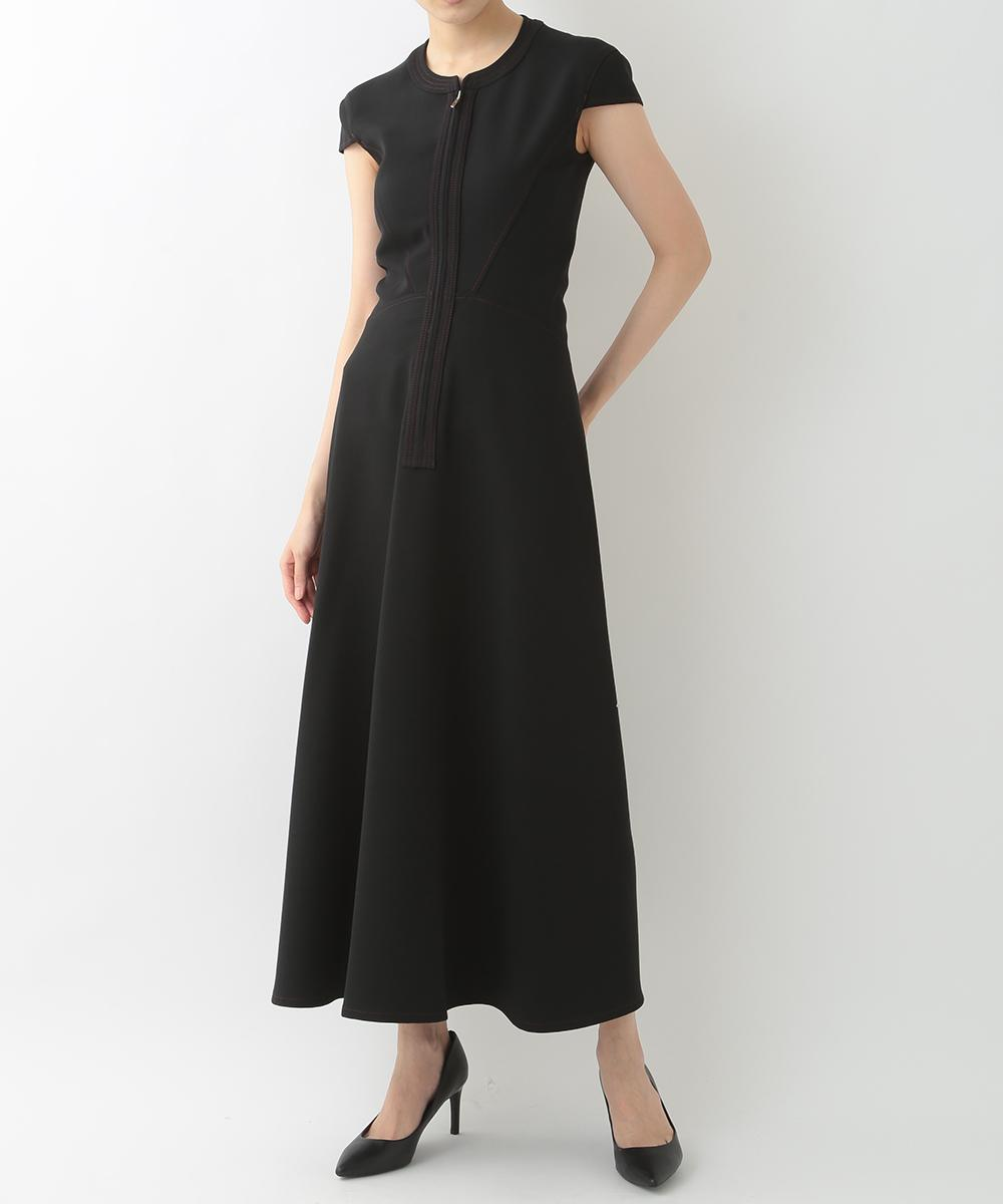 re:edition project 165 CAP SLEEVE NO COLLAR ZIP FRONT LONG DRESS IN BLACK WITH HIGH-HEEL