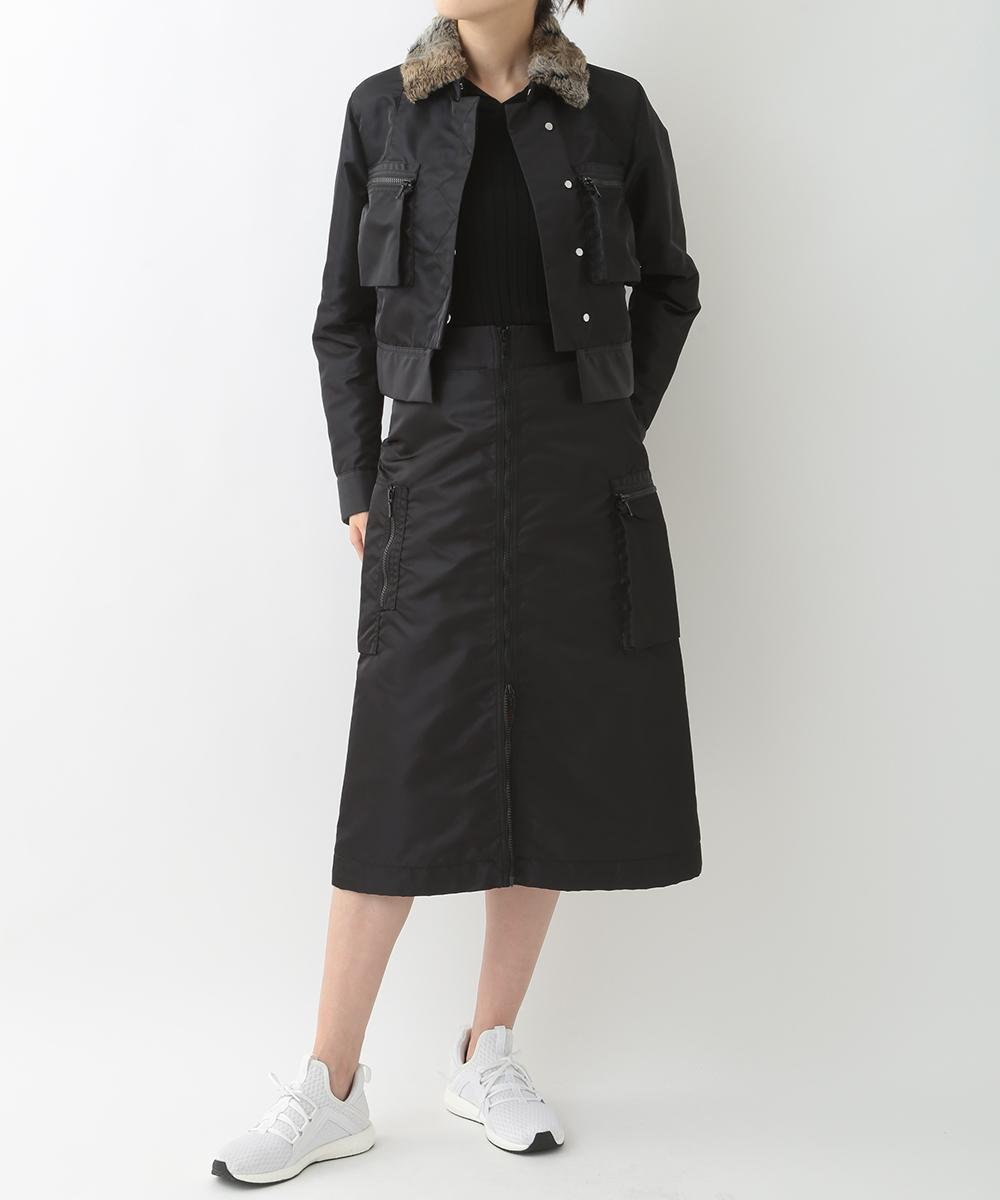 re:edition project 165 NYLON TAFFETA JEAN JACKET WITH DETACHABLE ECO FUR COLLAR  & ZIP FRONT CARGO SKIRT