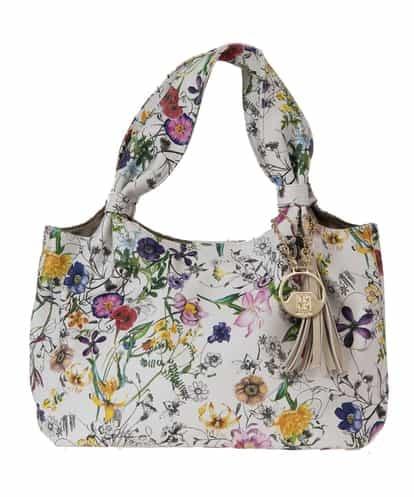MK MICHEL KLEIN BAG(エムケー ミッシェルクラン バッグ) プリントハンドバッグ ホワイト フリーサイズ