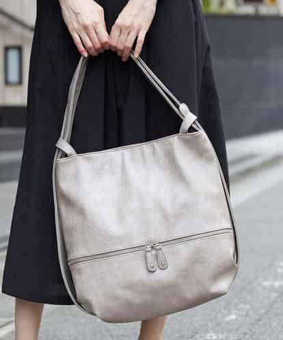 MK MICHEL KLEIN BAG(エムケー ミッシェルクラン バッグ) 【2WAY】デニムプリントショルダーバッグ モカ フリーサイズ