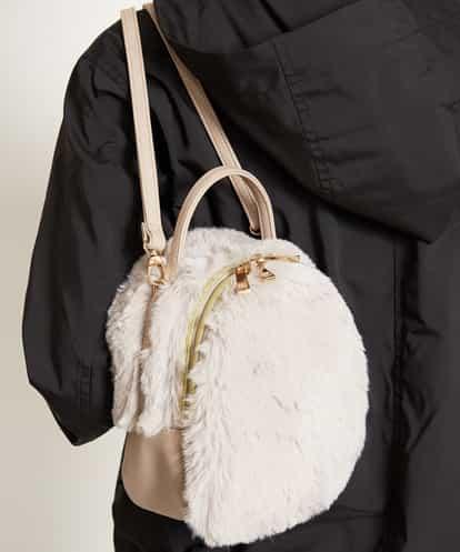 MK MICHEL KLEIN BAG(エムケー ミッシェルクラン バッグ) 【2WAY】エコファーミニリュック アイボリー フリーサイズ