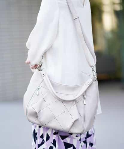 MK MICHEL KLEIN BAG(エムケー ミッシェルクラン バッグ) 【2WAY】アーガイルパンチングバッグ ライトグレー フリーサイズ