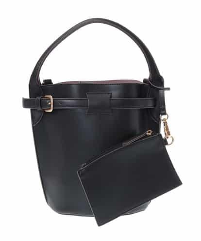 MK MICHEL KLEIN BAG(エムケー ミッシェルクラン バッグ) 【ポーチ付き】フェイクレザートートバッグ ブラック フリーサイズ
