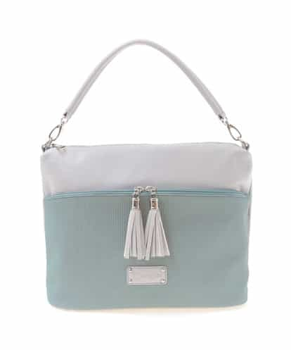 MK MICHEL KLEIN BAG(エムケー ミッシェルクラン バッグ) デザインポケットフェイクレザートート ライトブルー フリーサイズ