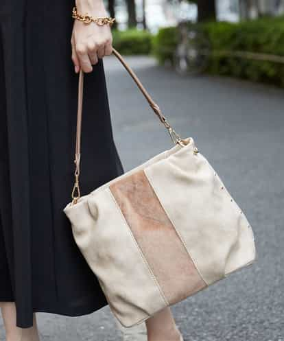 MK MICHEL KLEIN BAG(エムケー ミッシェルクラン バッグ) 【2WAY】エコファー切り替えデザインバッグ ベージュ フリーサイズ