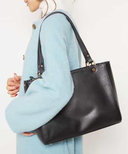 MK MICHEL KLEIN BAG(エムケー ミッシェルクラン バッグ) 【2WAY/A4対応】リアルレザースクエアーバッグ ブラック フリーサイズ