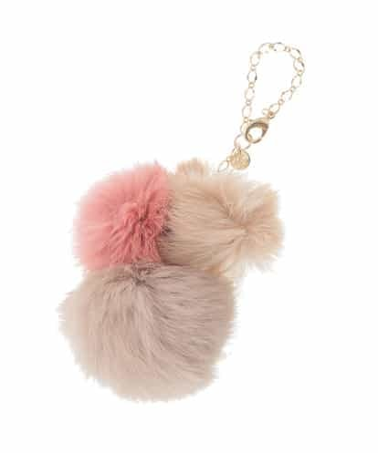 MK MICHEL KLEIN BAG(エムケー ミッシェルクラン バッグ) ファー3連チャーム ピンク フリーサイズ