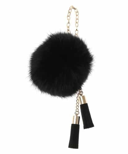 MK MICHEL KLEIN BAG(エムケー ミッシェルクラン バッグ) タッセルラビットファーチャーム ブラック フリーサイズ