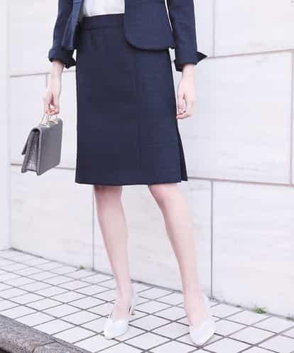OFUON(オフオン) 【セットアップ対応】ネップツイードタイトスカート ネイビー 36