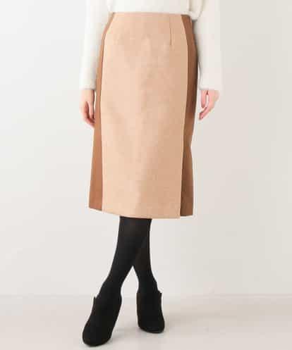 OFUON(オフオン) 異素材ナロースカート キャメル 38