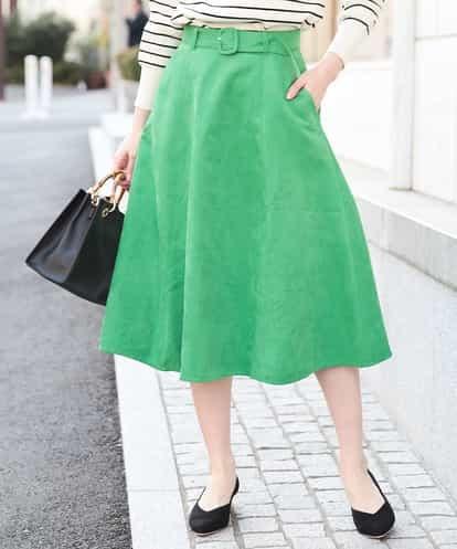 OFUON(オフオン) 【洗える】スエードフレアスカート ライトグリーン 40