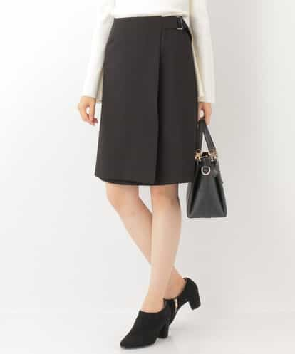 OFUON(オフオン) ラップデザインスカート ブラック 38