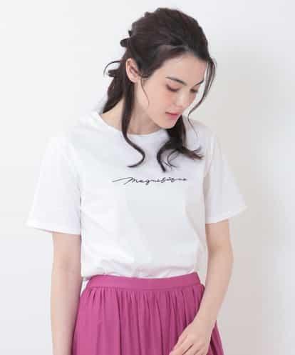 OFUON(オフオン) ロゴ刺繍Tシャツ アイボリー 40