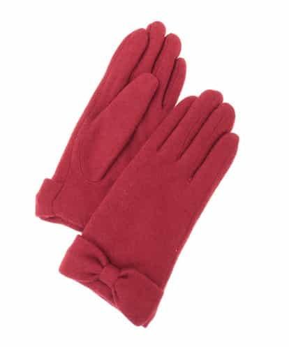 OFUON(オフオン) リボンデザイン手袋 レッド 38