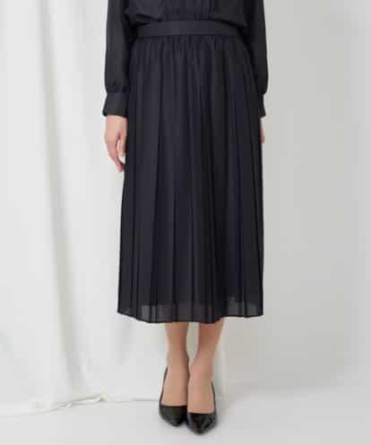 Maison de CINQ(メゾンドサンク) 【セットアップ対応/洗える】ミストロンツイルプリーツスカート(小さいサイズ) ネイビー 36