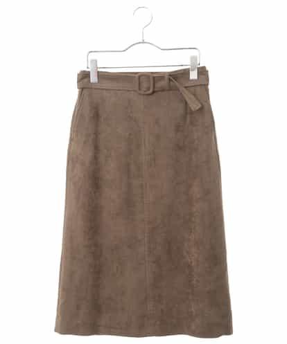 Maison de CINQ(メゾンドサンク) 【セットアップ対応/洗える】ストレッチスエードAラインスカート ブラウン 36