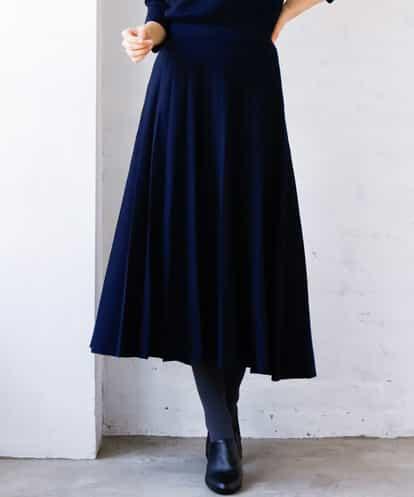 MK MICHEL KLEIN(エムケー ミッシェルクラン) 【洗える】ニットプリーツスカート ネイビー 38