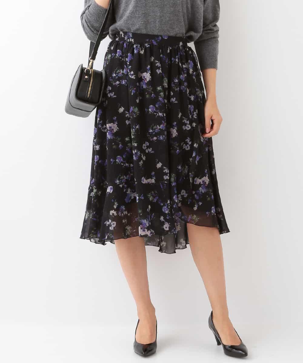 MK MICHEL KLEIN(エムケーミッシェルクラン)【洗濯機で洗える】フレアー切替え花柄スカート