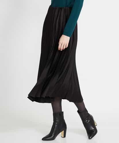 MICHEL KLEIN(ミッシェルクラン) アコーディオンプリーツサテンスカート ブラック 38