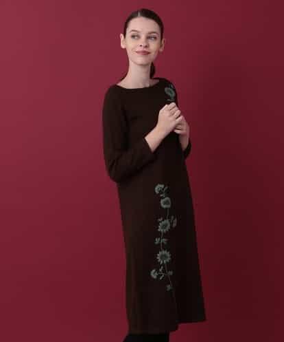 Sybilla(シビラ) 刺繍ニットワンピース ダークブラウン 40