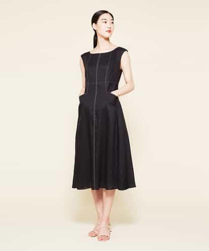 Sybilla(シビラ) リネン切り替えデザインドレス ブラック 36
