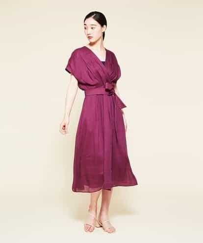 Sybilla(シビラ) リネンシルクカシュクールデザインドレス ワイン 40