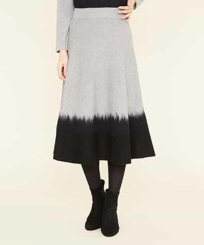 Sybilla(シビラ) ニードル刺繍バイカラーニットスカート ブラック 40